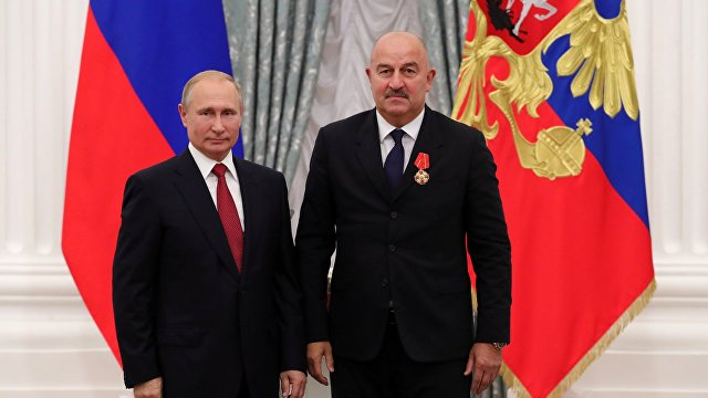 Станислав Черчесов и Владимир Путин