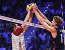 Игровой момент матча чемпионата мира по волейболу Польша - США