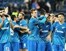 Футболисты Зенита празднуют победу над Славией в Лиге Европы