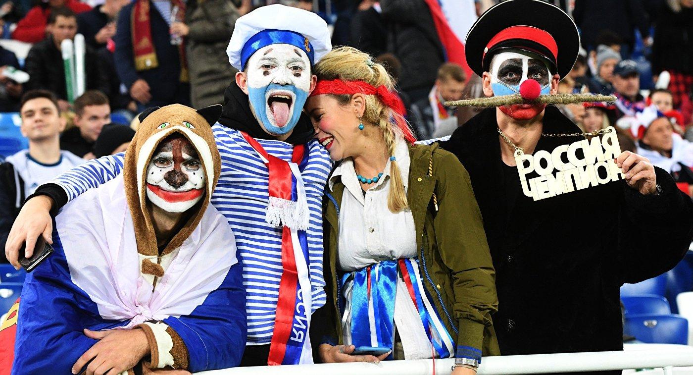 Болельщики на матче Россия - Швеция