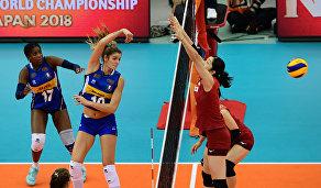 Игровой момент матча Италия - Япония