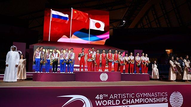 Призёры командного многоборья среди мужчин на ЧМ по спортивной гимнастике