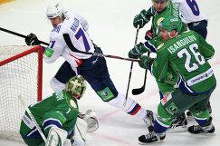Игровогй момент матча Салават Юлаев - Металлург (Магнитогорск)