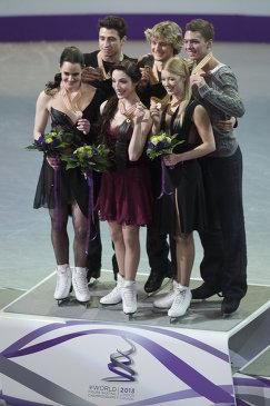 Тесса Вирчу и Скотт Мойр, Мэрил Дэвис и Чарли Уайт, Екатерина Боброва и Дмитрий Соловьев (слева направо)