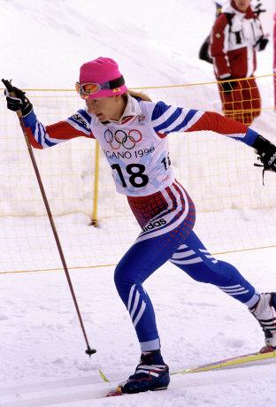 Елена Вяльбе на Зимних Олимпийских играх в Нагано, Япония, 1998.