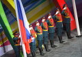Подъем российского флага на церемонии открытия XXVII Всемирной летней Универсиады 2013 на стадионе Казань Арена в Казани.