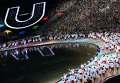 Делегация сборной России во время парада спортсменов на церемонии открытия XXVII Всемирной летней Универсиады 2013 на стадионе Казань Арена в Казани.