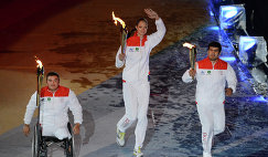 Паралимпиец Ирек Зарипов, волейболистка Екатерина Гамова и олимпийский чемпион по дзюдо Тагир Хайбулаев (слева направо)
