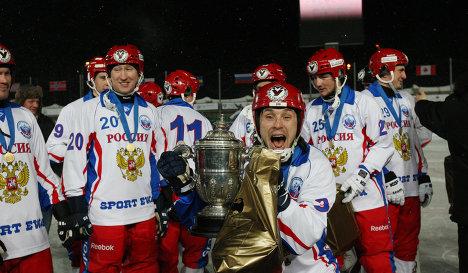 Хоккеисты сборной России по бенди