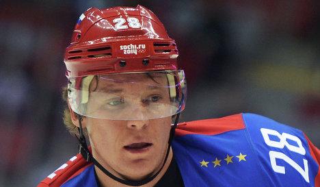 Нападающий сборной России по хоккею Александр Семин