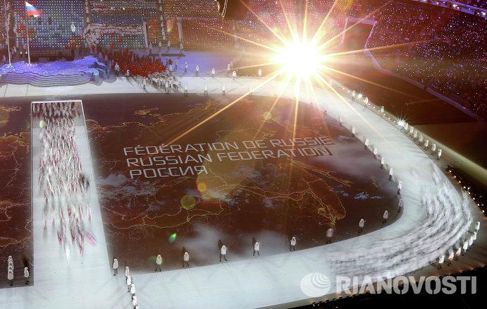 Представители России во время парада атлетов
