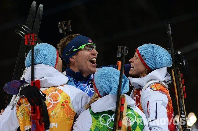 Уле-Эйнар Бьорндален, Эмиль Хегле Свендсен, Тириль Экхофф и Тура Бергер (слева направо)