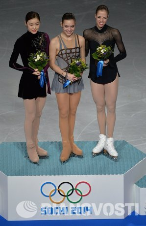 Ким Ю На, Аделина Сотникова и Каролина Костнер