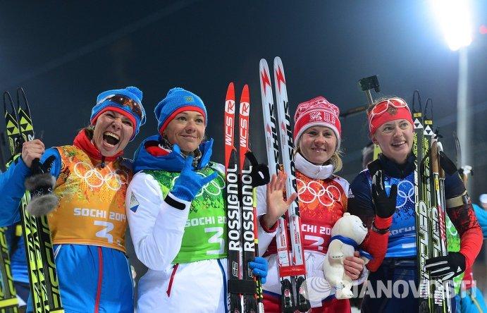 Слева направо: Екатерина Шумилова (Россия), Ольга Зайцева (Россия), Яна Романова (Россия), Ольга Вилухина (Россия)