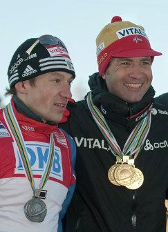 Максим Чудов и Уле Эйнар Бьерндален (слева направо)