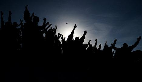 Болельщики на матче 19-го тура чемпионата Украины по футболу