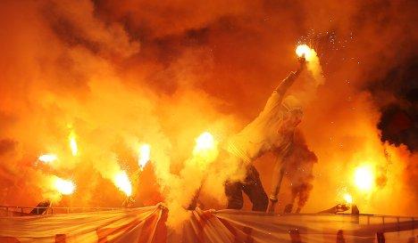 Болельщики Спартака на матче 9-го тура чемпионата России по футболу