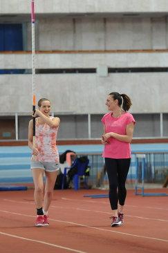 Мария Воробьева и Елена Исинбаева (слева направо)
