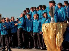 Во время встречи ФК Зенит на площади у спортивно-концертного комплекса Петербургский, где победители представили Кубок УЕФА болельщикам, архив