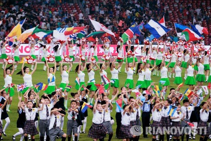 Артисты на церемонии закрытия чемпионата мира 2015 по легкой атлетике в Пекине