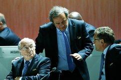 Йозеф Блаттер, Мишель Платини и Жером Вальке (слева направо)