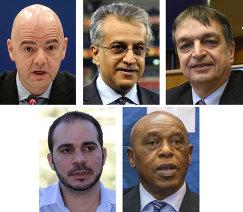 Кандидаты на пост президента ФИФА Джанни Инфантино, шейх Салман бин Ибрагим аль-Халифа, Жером Шампань,  Али бин Аль-Хусейн и Токио Сексвале. Комбинация