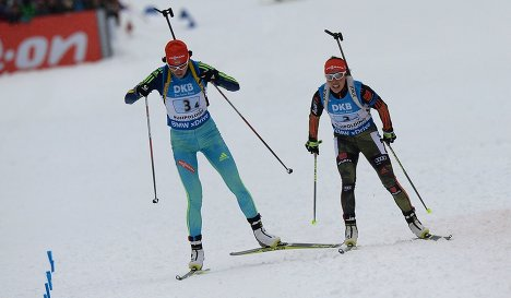Елена Пидгрушная (Украина) и Лаура Дальмайер (Германия) (слева направо)