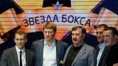 Эдуард Трояновский (слева), Александр Поветкин (второй слева), Сергей Ковалев (второй справа), Денис Лебедев (справа)