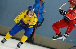 Игроки сборной Швеции Кристофер Эдлунд (слева) и сборной России Павел Булатов