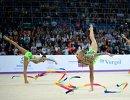 Команда России выступает на турнире Гран-при Москвы по художественной гимнастике
