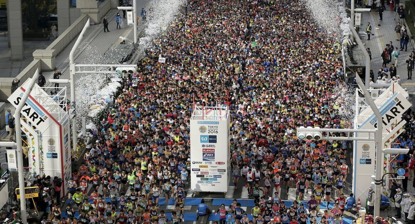 Участники токийского марафона - 2016