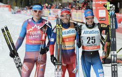 Сергей Устюгов, Мартин Йонсруд Сундбю и Матти Хейккинен (слева направо)