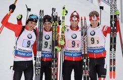 Канадские биатлонисты Брендан Грин, Натан Смит, Кристиан Гоу и Скотт Гоу (слева направо)