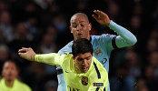 Игровой момент матча Манчестер Сити - Барселона