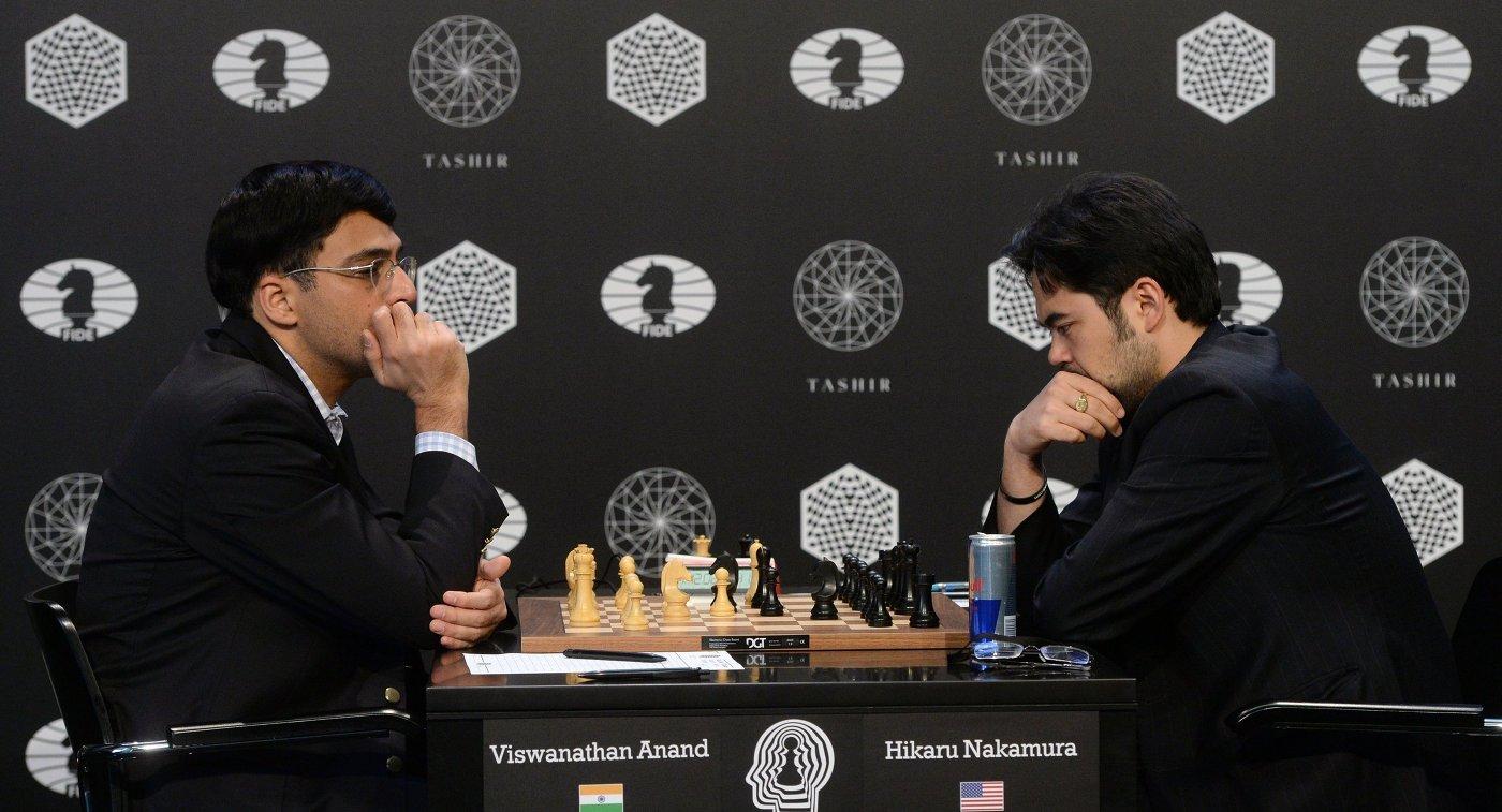 Вишванатан Ананд (Индия) и Хикару Накамура (США) (справа)