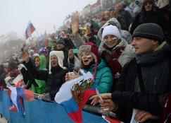 Российские болельщики во время одного из этапов Кубка мира по биатлону