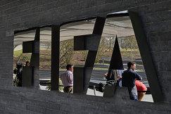 Логотип ФИФА в штаб-квартире в Цюрихе, Швейцария