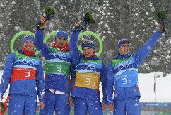 Российские биатлонисты Иван Черезов, Антон Шипулин, Максим Чудов, Евгений Устюгов (слева направо