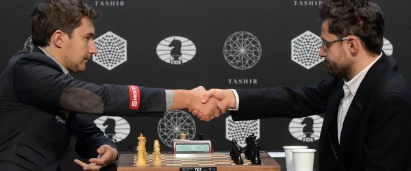 Гроссмейстеры Сергей Карякин и Левон Аронян (слева направо)