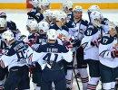 Хоккеисты магнитогорского Металлурга радуются победе