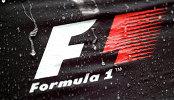 Капли дождя на фоне логотипа Формулы-1 во время этап Гран-при Японии