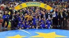 Мини-футбольный клуб Газпром-Югра после победы в Кубке УЕФА