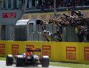 Пилот Ред Булл Макс Ферстаппен финиширует на Гран-при Испании