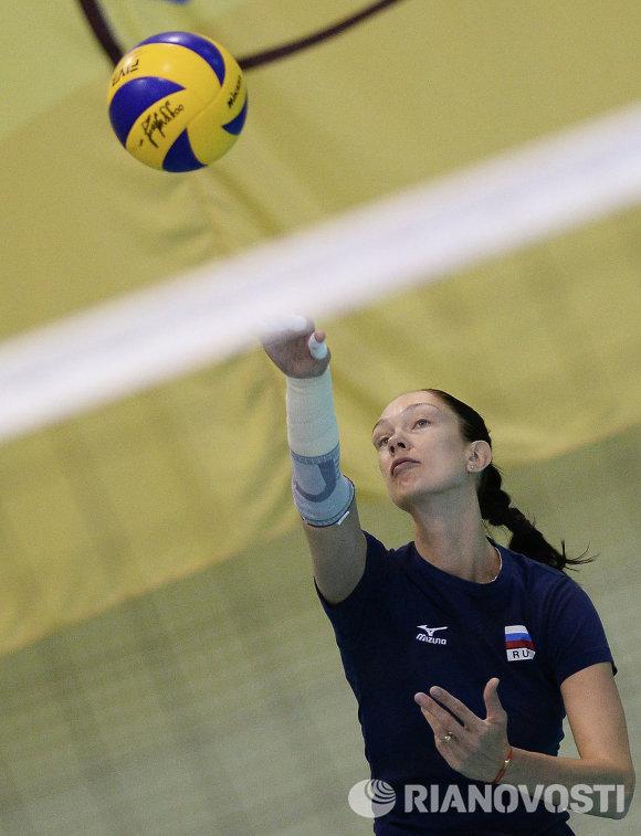 Диагональная сборной России Екатерина Гамова на тренировке