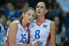 Волейболистки сборной России Татьяна Кошелева (слева) и Наталья Обмочаева (Гончарова)