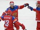 Хоккеисты сборной России Павел Дацюк, Сергей Мозякин и Максим Чудинов (слева направо)