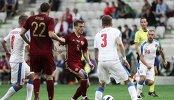 Игровой момент товарищеского матча между сборными командами России и Чехии