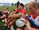 Регбисты сборной России после победы в матче за золотые медали мужского турнира по регби-7