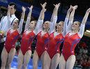 Гимнастки сборной России Алия Мустафина, Ксения Афанасьева, Дарья Спиридонова, Ангелина Мельникова и Седа Тутхалян (справа налево)