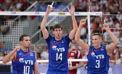 Игроки сборной России Александр Маркин, Артем Вольвич и Дмитрий Ковалев (слева направо)